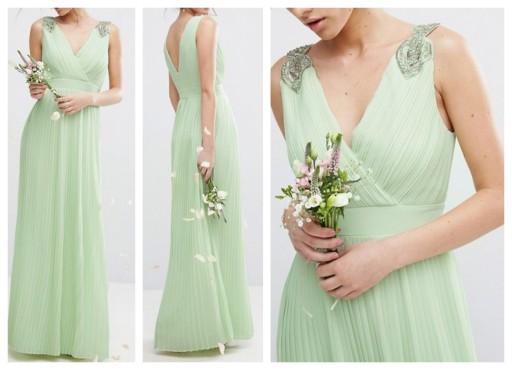 et96 sukienka maxi plisowana zdobiona wesele S/M