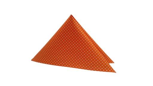 Pomarańczowa poszetka do marynarki w białe kropki