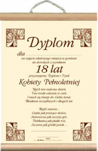 Dyplom życzenia Prezent Na 18 Urodziny Dziewczyny 6955389729