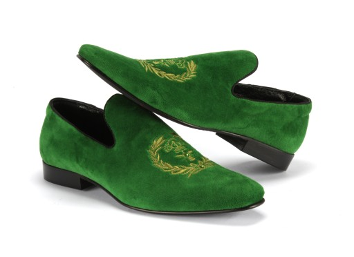 38-45 Wsuwane mokasyny lordsy zielone cyrkonie 7219038741