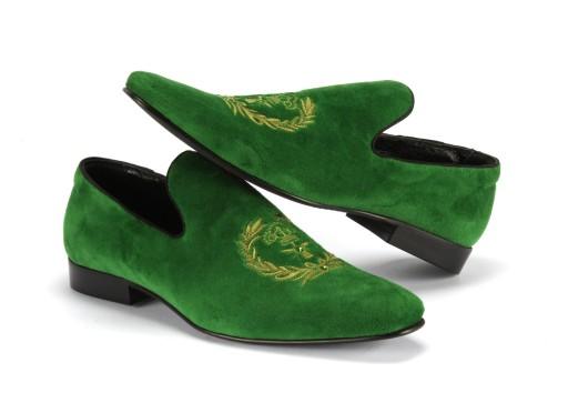 39 Scarpe-esclusive wsuwane mokasyny zielone haft 7239127279