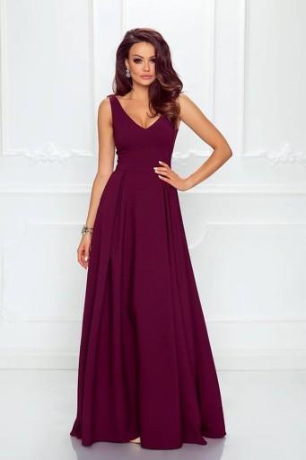 c7460a624b Bordowa Długa Sukienka Z Dekoltem ślub Wesele S 7497361102 Allegropl