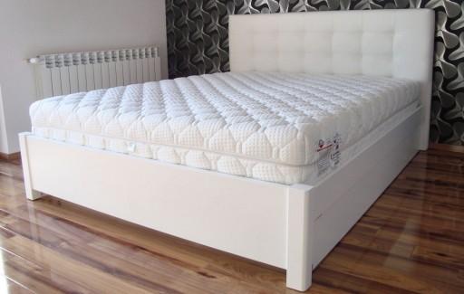 łóżko Drewniane Białe Z Pojemnikiem 180x200
