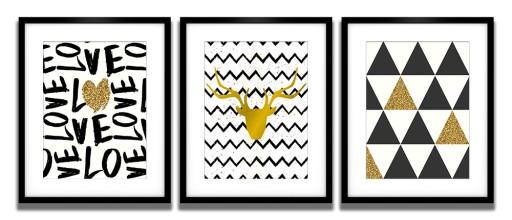 3 Plakaty W Ramach Nowoczesne Skandynawskie Złote