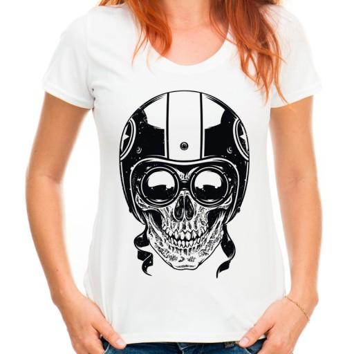 Koszulka damska z czaszką w kasku na motor HQ XXL