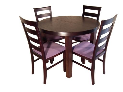 Okrągły Stół Rozkładany 90x90120 Z 4 Krzesłami