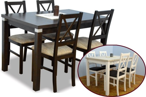 Drewniany Stół 80150 I 4 Krzesła Zestaw Do Kuchni