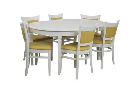 Rozkładany Okrągły Biały Stół I 6 Krzeseł Kuchnia