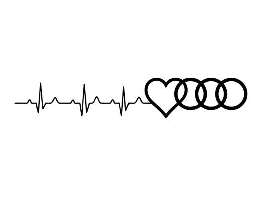 Naklejka Na Szybę Duża Linia życia Audi Serce Love