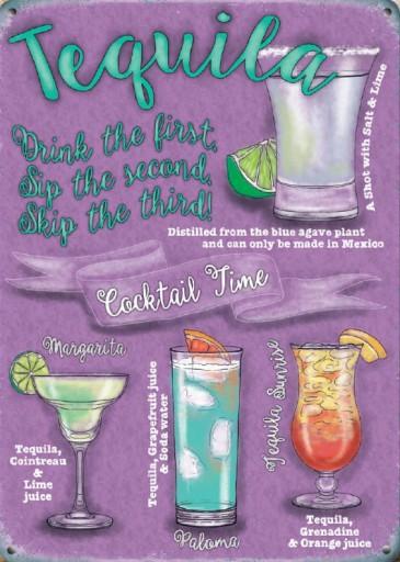 Metalowy Plakat Szyld Retro 30x40 Tequila Cocktail