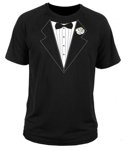 koszulka  t-shirt garnitur  krawat mucha weselna