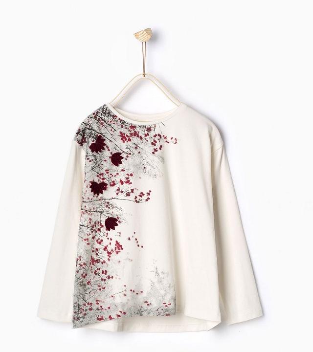 Zara biała bluzka z aplikacją liści 122 BDB+ 9909389011 Dziecięce Odzież YV NKUIYV-1